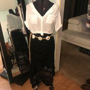 Black Crochet High Low Train Skirt Umgee Size M